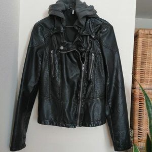 Free People Hooded Faux Leather Moto Jacket • Sz 6